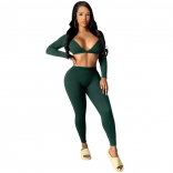 Green Long Sleeve V-Neck 2PCS Sexy Jumpsuit
