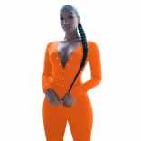 Orange Long Sleeve Deep V-Neck Bust Button Sports Dress