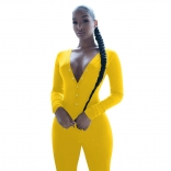 Yellow Long Sleeve Deep V-Neck Bust Button Sports Dress
