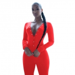 Red Long Sleeve Deep V-Neck Bust Button Sports Dress