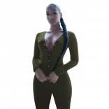Green Long Sleeve Deep V-Neck Bust Button Sports Dress