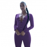 Purple Long Sleeve Deep V-Neck Bust Button Sports Dress