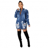 Blue Long Sleeve Jeans Women Jacket