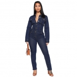 RoyalBlue Long Sleeve V-Neck Jeans Women Jumpsuit