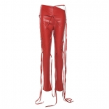 Red Leather Fashion Bandage Trousers