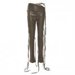 Green Leather Fashion Bandage Trousers