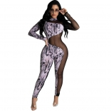 White Long Sleeve Printed Mesh Women Bodycons Sexy Jumpsuit