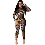Leopard Long Sleeve Printed Mesh Women Bodycons Sexy Jumpsuit