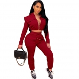 Red Long Sleeve Zipper V-Neck 2PCS Women Jumpsuit