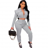 Gray Long Sleeve Zipper V-Neck 2PCS Women Jumpsuit