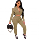 Green Long Sleeve Zipper V-Neck 2PCS Women Jumpsuit