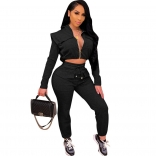 Black Long Sleeve Zipper V-Neck 2PCS Women Jumpsuit
