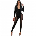 Black Deep V-Neck Long Sleeve Mesh Sexy Jumpsuit
