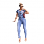 Light Blue Sleeveless Jeans Women Jumpsuit