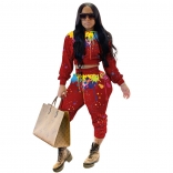 Red Long Sleeve Printed 2PCS Women Jumpsuit Sets