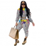 Gray Long Sleeve Printed 2PCS Women Jumpsuit Sets