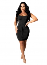 Black Sleeveless Halter Lace-up Bandage Mini Sexy Dress