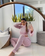 Pink Long Sleeve O-Neck Bodycons Women Sexy Jumpsuit