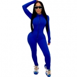 RoyalBlue Long Sleeve Zipper Bodycons Women Jumpsuit