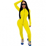 Yellow Long Sleeve Zipper Bodycons Women Jumpsuit