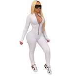 White Long Sleeve Zipper Bodycons Women Jumpsuit