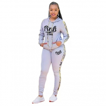Gray Long Sleeve Hoody Printed PINK 2PCS Sports Dress