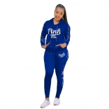 Blue Long Sleeve Hoody Printed PINK 2PCS Sports Dress