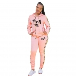 Pink Long Sleeve Hoody Printed PINK 2PCS Sports Dress