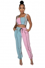 Pink Halter Boat-Neck 2PCS Women Fashion Jumpsuit