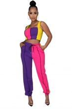 Blue Halter Boat-Neck 2PCS Women Fashion Jumpsuit