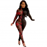 Black Long Sleeve Printed Mesh Sexy Women Jumpsuit