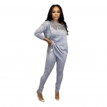 Gray Long Sleeve O-Neck Sequins Women Jumpsuit