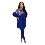 Blue Long Sleeve O-Neck Sequins Women Jumpsuit