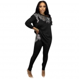 Black Long Sleeve O-Neck Sequins Women Jumpsuit