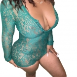 Green Long Sleeve Lace Women Sexy Lingerie