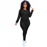 Black Long Sleeve Women 2PCS YOGA Sports Dress