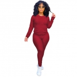 Red Long Sleeve Women 2PCS YOGA Sports Dress