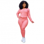 Pink Long Sleeve Women 2PCS YOGA Sports Dress