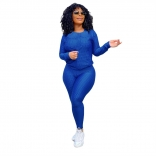 Blue Long Sleeve Women 2PCS YOGA Sports Dress