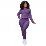 Purple Long Sleeve Women 2PCS YOGA Sports Dress