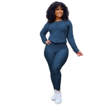 RoyalBlue Long Sleeve Women 2PCS YOGA Sports Dress