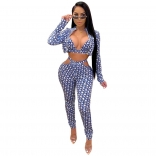 Blue Long Sleeve V-Neck Sexy Low-Cut Women Jumpsuit