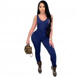 RoyalBlue Sleeveless V-Neck Halter Bodycons Sexy Jumpsuit