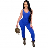 Blue Sleeveless V-Neck Halter Bodycons Sexy Jumpsuit