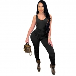 Black Sleeveless V-Neck Halter Bodycons Sexy Jumpsuit