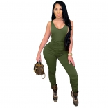 Green Sleeveless V-Neck Halter Bodycons Sexy Jumpsuit