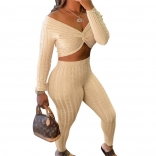 Beige Long Sleeve Low-Cut V-Neck Women Fashion Jumpsuit
