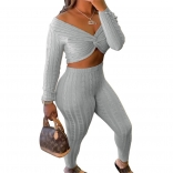 Grey Long Sleeve Low-Cut V-Neck Women Fashion Jumpsuit