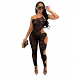 Black Sleeveless Halter Mesh Hollow-out Sexy Jumpsuit