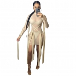 Beige Long Sleeve Mesh Bangdage Sexy Dress